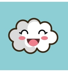 kawaii cloud smiling eyes design vector image