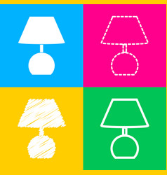lamp sign four styles of icon on vector image