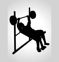 Man exercising using weight bench vector