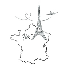 Map of France with Eiffel tower vector image vector image