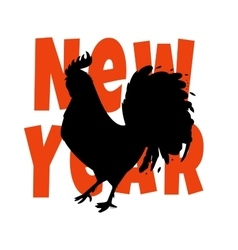New Year silhouette of a black vector image