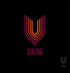 orange viking logo v letter icon vector image