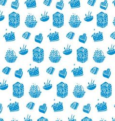 pattern of blue cakes vector image vector image
