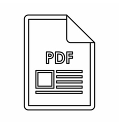 Pdf file document icon outline style vector