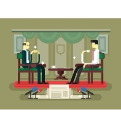 Politician interview flat design vector