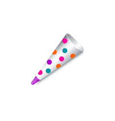 realistic polka dotted paper birthday party horn vector image