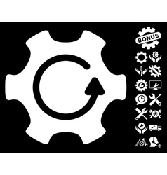 Rotate Gear Icon with Tools Bonus vector image vector image