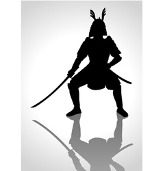 Silhouette of a samurai general vector image