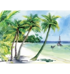 Summer beach with palm trees seagulls and boat on vector image