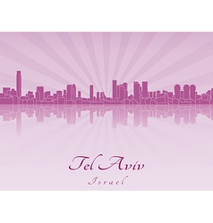 Tel Aviv skyline in purple radiant orchid vector image