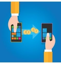 Transfer money from phone to mobile handphone vector