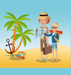 Traveling tourist camera glasses anchor palm sand vector