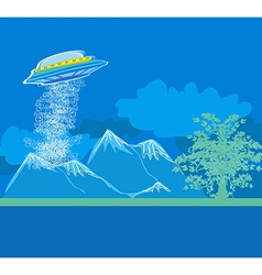UFO hovering over a landscape vector image vector image