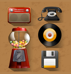 Vintage items on brown background vector