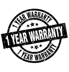 1 year warranty round grunge black stamp vector