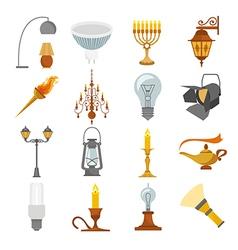 Lighting elements icon set vector