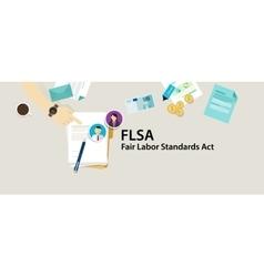 Flsa fair labor standards act paper employee vector
