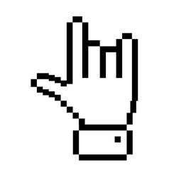 Black outline pixelated hand with rock symbol vector