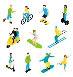 Isometric people ride set vector