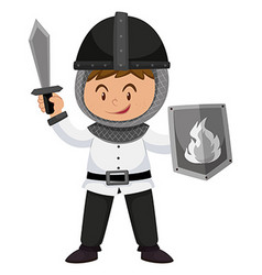 Kid in knight costume with weapons vector