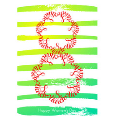 holiday gift card with hand lettering 8 march vector image
