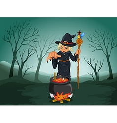 An ugly witch holding a cane vector