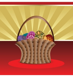 Easter card with basket of eggs vector