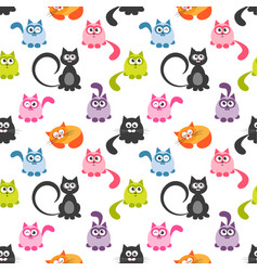 Seamless pattern with cute colorful cats vector