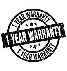 1 year warranty round grunge black stamp vector