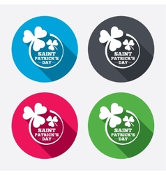 Clovers in circle with three leaves sign vector