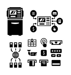 Set icons of atm vector