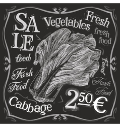 Cabbage logo design template fresh food vector