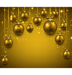 Arc background with golden christmas balls vector