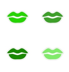 Assembly realistic sticker design on paper kiss vector