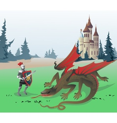 Knight fighting dragon vector