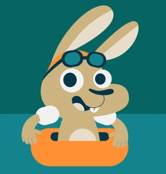 Cute bunny playing in the pool vector