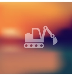 Excavator icon on blurred background vector