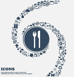 Eat sign icon cutlery symbol fork and knife in the vector