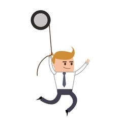 Businessman hanging from gear icon vector