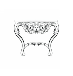 Baroque style night table with luxurious ornaments vector