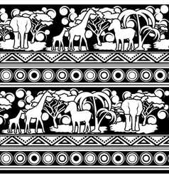 Black and white pattern in african style vector
