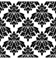 Black damask seamless pattern vector