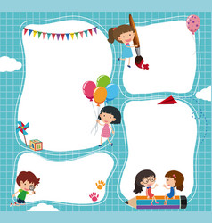 Border template with kids in the sky vector