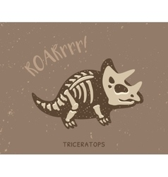 Cartoon triceratops dinosaur fossil vector