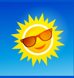 Cheerful smiling cartoon sun in sunglasses on vector