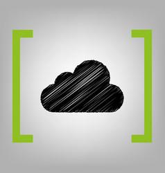 Cloud sign black scribble vector