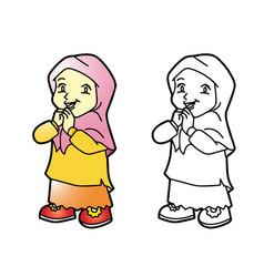 coloring melayu muslim girl - vector image vector image