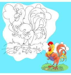 coloring page of funny farm cock vector image vector image