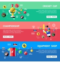 Cricket Banner Set vector image