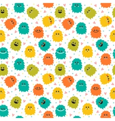 Cute seamless pattern with cartoon smiley monsters vector